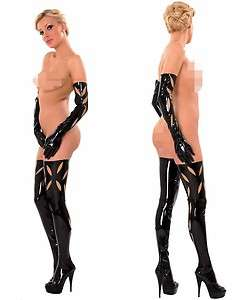 Rubber Latex stockings halterlose Struempfe m.zipper S  XL NEU