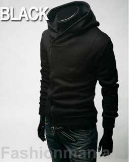 Mens Casual Zip Hoodie Jacket Sweatshirt M L XL XXL Black Z1004