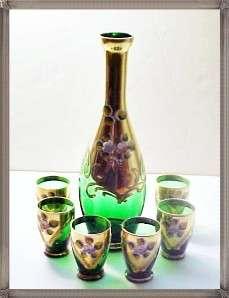 Bohemian Green Glass Liquor Set Gold & H. P. Flowers