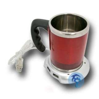 USB Hub + Coffee/Tea/Soup/Mug/Cup Warmer For Office New