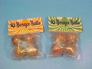 VINTAGE HI BOUNCE BALLS PACK x 2 OLD STOCK JAPAN 1960s
