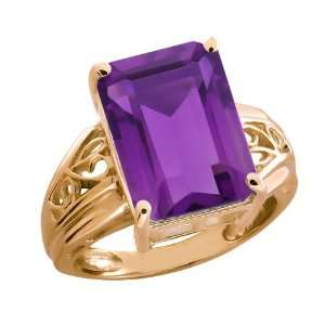 7.10 Ct Octagon Purple Amethyst 18k Rose Gold Ring Jewelry