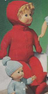 16 Boy Doll Clothes Hooded Snow Suit KNITTING PATTERN