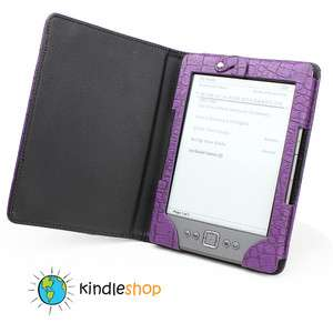 NEW PURPLE  Kindle 4 Light Lighted Leather Case Cover 2X LED