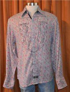 English Laundry LONG SLEEVE PINK FLORAL GRAY BROWN BUTTON DOWN SHIRT