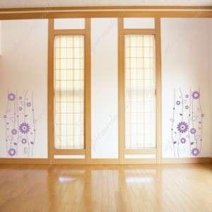 Vertical Flower vine (2 sets) removable wall art decals