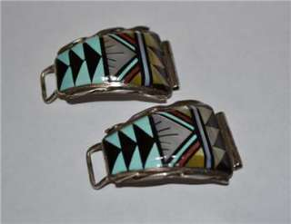NATIVE AMERICAN ZUNI STERLING TURQUOISE CORAL INLAY WATCH BAND ENDS