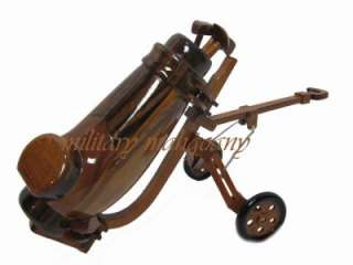 HAND CARVED MAHOGANY WOODEN WOOD GOLF GOLFER BAG CLUB IRONS CADDY