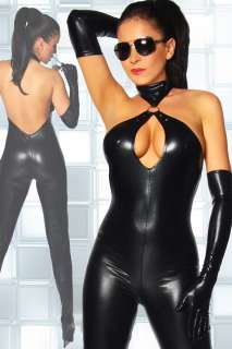 Sexy Blk Goth Punk PU Wetlook Catsuit Teddy @P754