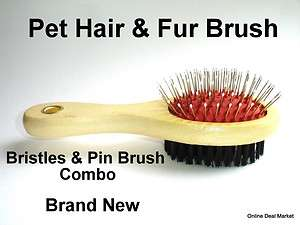 HANDLE PET DOG CAT HAIR BRUSH COAT GROOMING DOUBLE SIDED PIN BRISTLE
