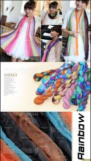 New Womens Colorful Gradient Wrinkle Long Scarf Shawl Wrap Stole