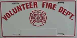 FIRE FIGHTER,FIREMAN,VOLUNTEER ,LICENSE PLATE, AUTO TAG