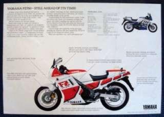 YAMAHA FZ 750 MOTORCYCLE SALES SHEET C 1988.
