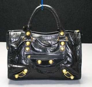 Black White Leather LKE Motorcycle Le Dix Handbag Purse