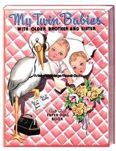 VINTGE 1940 My Twin Babies PAPER DOLL LAZER RPRO ORG SZ