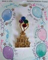 Austrian Crystal Pin Happy Birthday Words Dangle