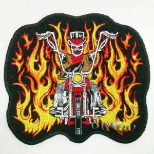 Motocycle Fire Flaming Skull Biker Chopper Iron Patch