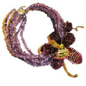 choker & Orchid Swarovski crystals Pin set by Mindy Lam