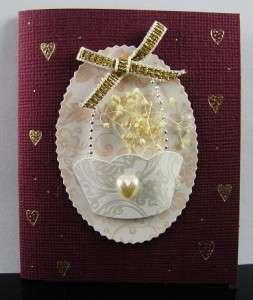 3D Handmade Rose Beads Ribbon Love Friendship Birthday Greeting Card
