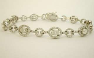 14K white gold oval link diamond bracelet 4.50 carat TW