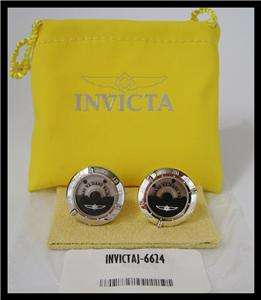 INVICTA ELEMENTS STAINLESS STEEL & BLACK IP ROTOR CUFFLINKS RP$265
