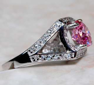 Pink Sapphire & White Topaz 925 Solid Sterling Silver Ring Sz 7