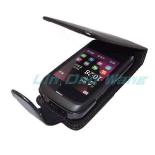BLACK FLIP LEATHER CASE COVER POUCH + LCD FILM SCREEN PROTECTOR FOR