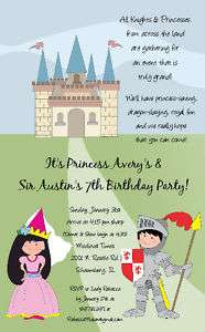KNIGHT & PRINCESS INVITATION~Girl~Boy Birthday Party
