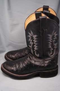 Justin Tekno Ostrich Black Soft Foam Rubber Sole 8.5 D Mens Western