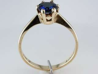Vintage Antique Victorian .90ct Kashmir Blue Sapphire Gold Engagement