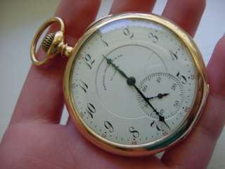 Antique Elgin Pocket Watch 14k Gold Mermod Jaccard & Co |