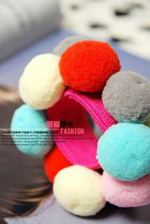 Cute Colourful Snowball Cotton Ball Ponytail Holder Hair Band Headband