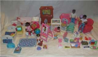 Fisher Price Loving Family Dollhouse Furniture and Figures/ People Lot