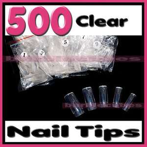 Color Acrylic Nail Art False French Nail Tips   Half #16111428