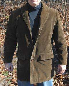 Vintage Mens Brown Corduroy Warm Jacket Coat Rugby Sportswear Size 38