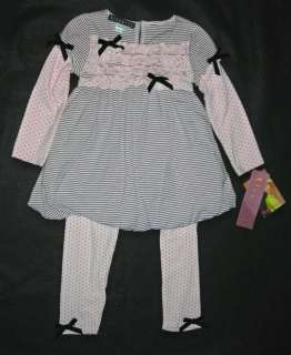 Biscotti Dots & Stripes Tunic Top Legging Pant Set   2T