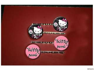 HELLO KITTY Punk rock cutie set of 4 bobby pins