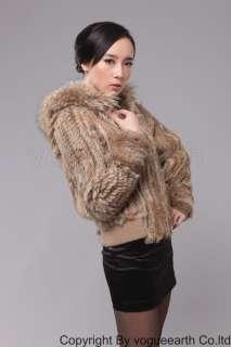 ON SALE 912 real raccoon rabbit fur black/brown/nature hood coat