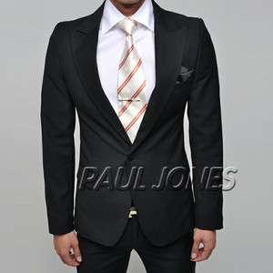 PJ One Button Mens Slim Skinny Fit Black Dress Suit Jacket & Pants