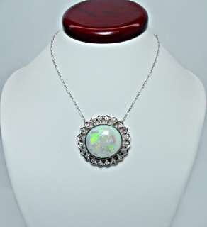 Antique 21ct Opal European Diamond Estate Necklace 14K White Rose Gold