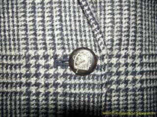 Lauren Ralph Lauren Tweed Wool Jacket 8 Equestrian Horse Buttons