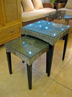 Pure Hand Woven Rattan Whole Set Stack Table No Glass