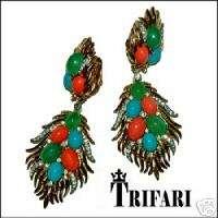 TRIFARI FAUX CORAL, TURQUOISE RHINESTONE CLIP EARRINGS