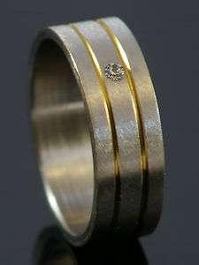 Edelstahlring mit Stein und 2 Streifen bicolor gold silber Ring