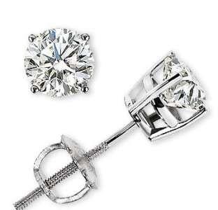 85 CT Genuine Round Diamond Stud Earrings 14k White Gold 100%