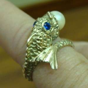 14K YELLOW GOLD LADIES PEARL SAPPHIRE DOLPHIN PINKY RING