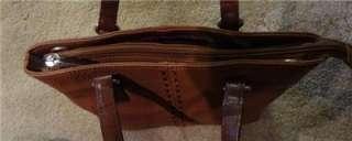 FOSSIL Brand Light Brown Genuine Leather Small / Med. Handbag Hobo