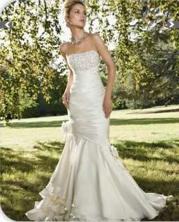 2012 Custom White/Ivory Beading Mermaid Wedding/Evening Bridal Dress