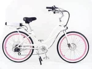 PEDEGO ELECTRIC CRUISER BICYCLE BIKE   WHITE FRAME/PINK RIMS & WHITE