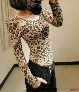Leopard Prints Long Sleeve Tops Slim T Shirt Blouses Bottoming Shirt